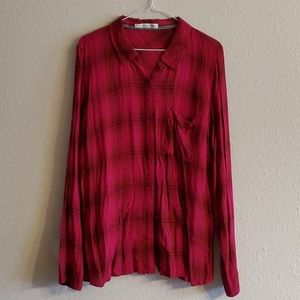 Women's Maurices Plus Button Plaid Long Sleeve